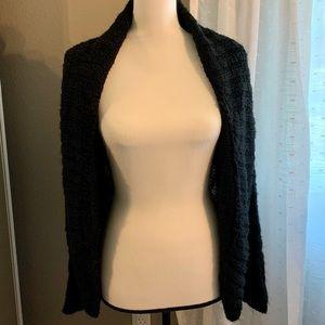 Open Front Black Crochet Knit Sweater Cardigan, L